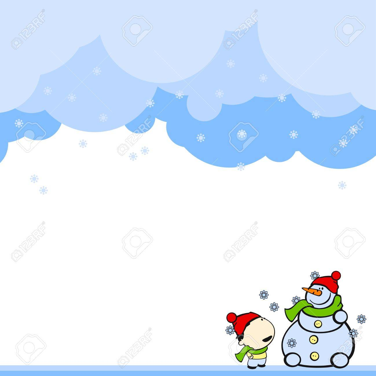 Cute card with a boy and a snowman Stock Vector - 8199351