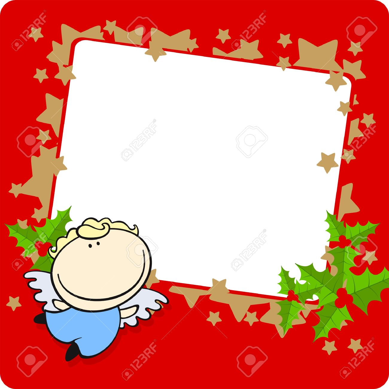 Christmas frame with a cute little angel Stock Vector - 8265507
