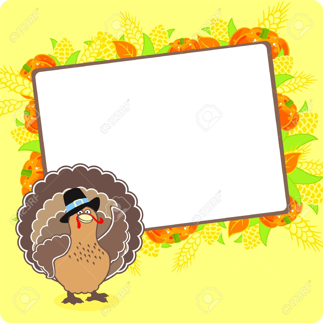 Thanksgiving Frame With A Turkey Royalty Free Cliparts, Vectors, And ...