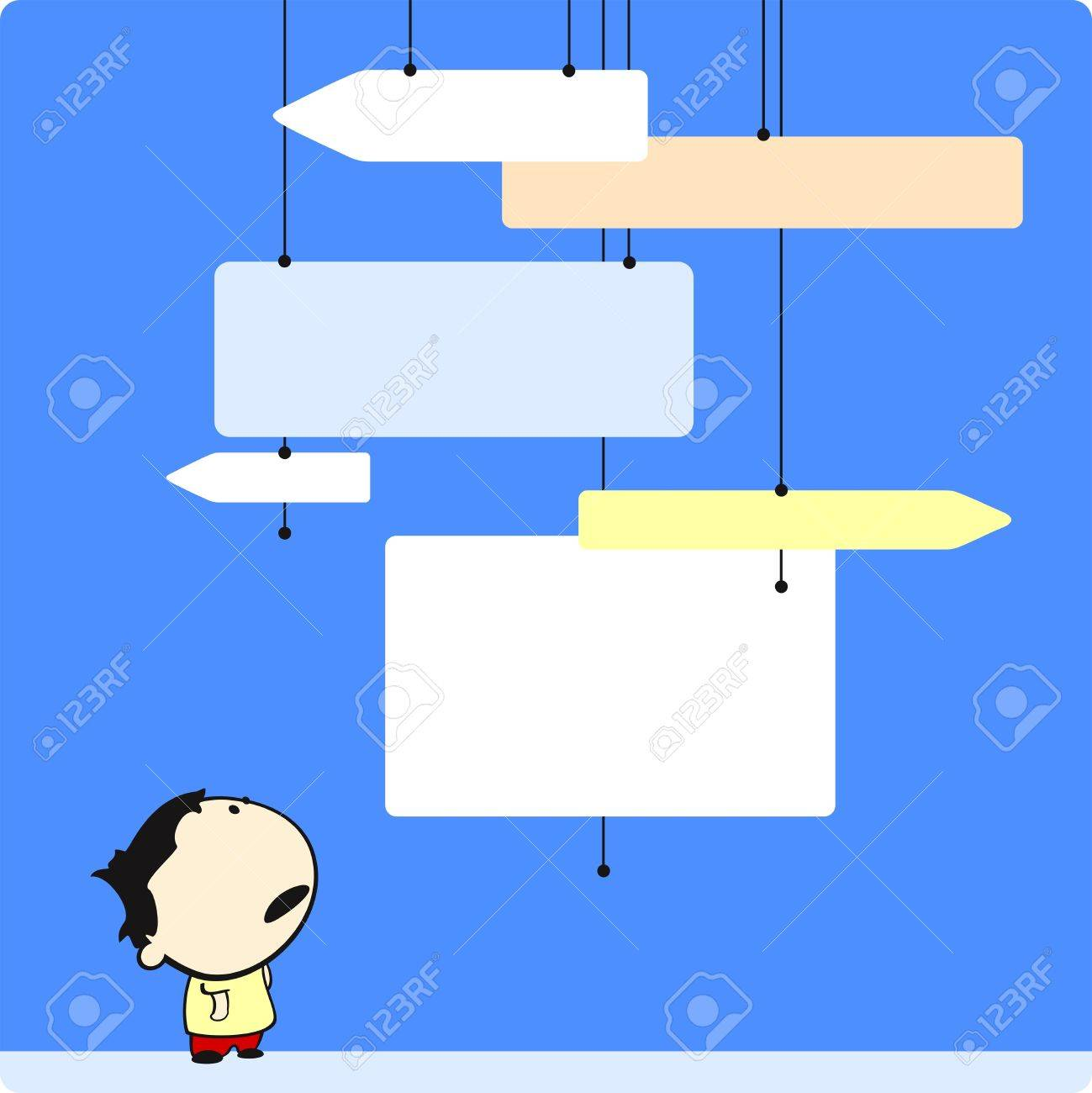 Boy looking at direction signs Stock Vector - 9167108