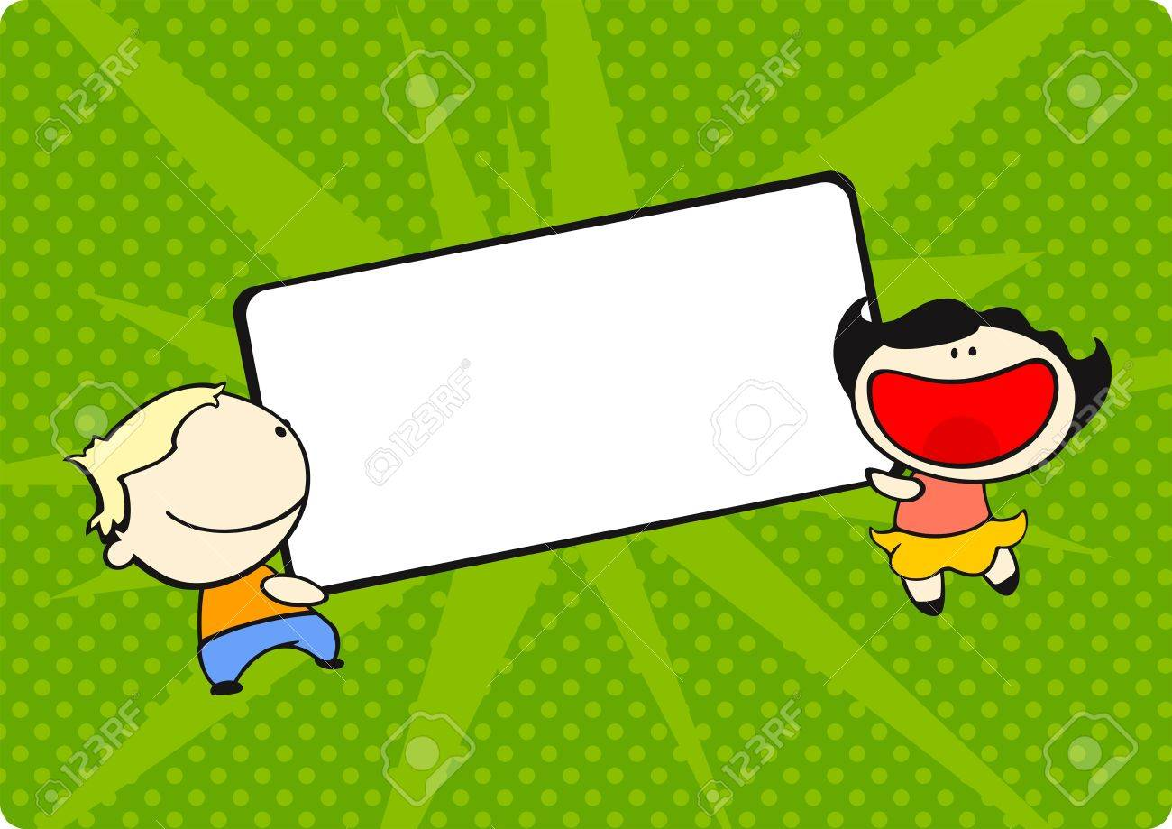 A boy and a girl holding a tag at a green background Stock Vector - 9260758