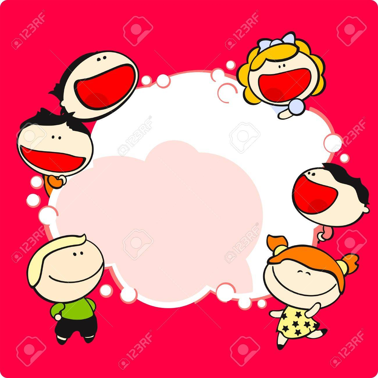 Funny kids and thinking bubble Stock Vector - 9260754