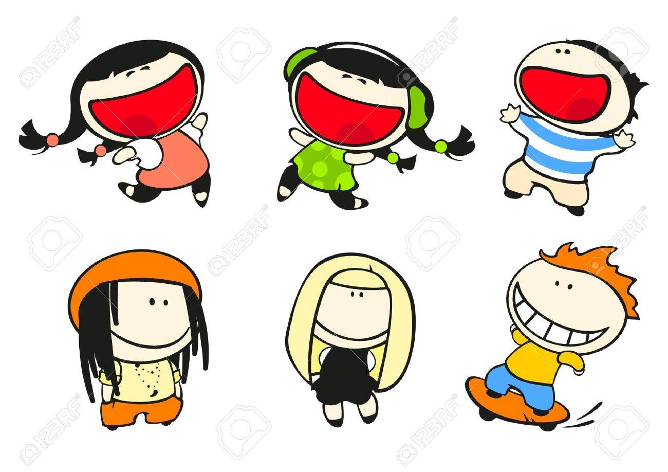 Set of images of funny kids on a white background #44, fashion theme Stock Vector - 9897529