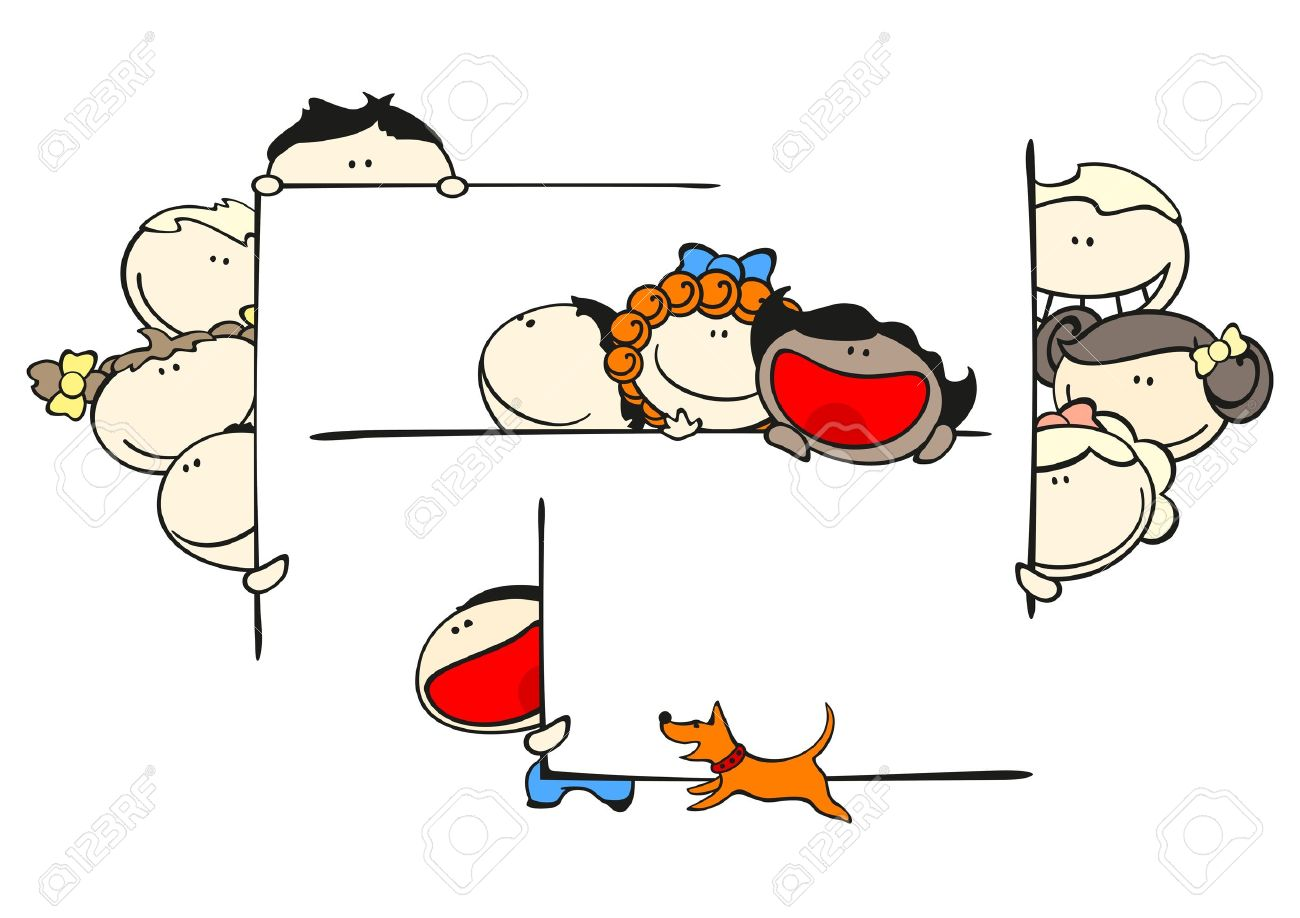 Set of images of funny kids on a white background #46, kids and frames Stock Vector - 10108072