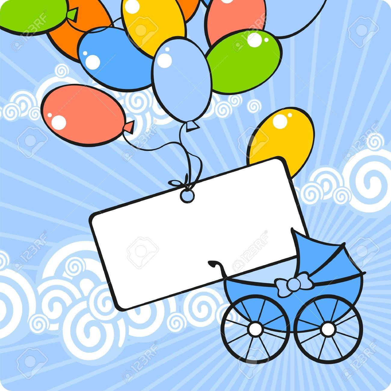 Card with a baby carriage and balloons Stock Vector - 10289021