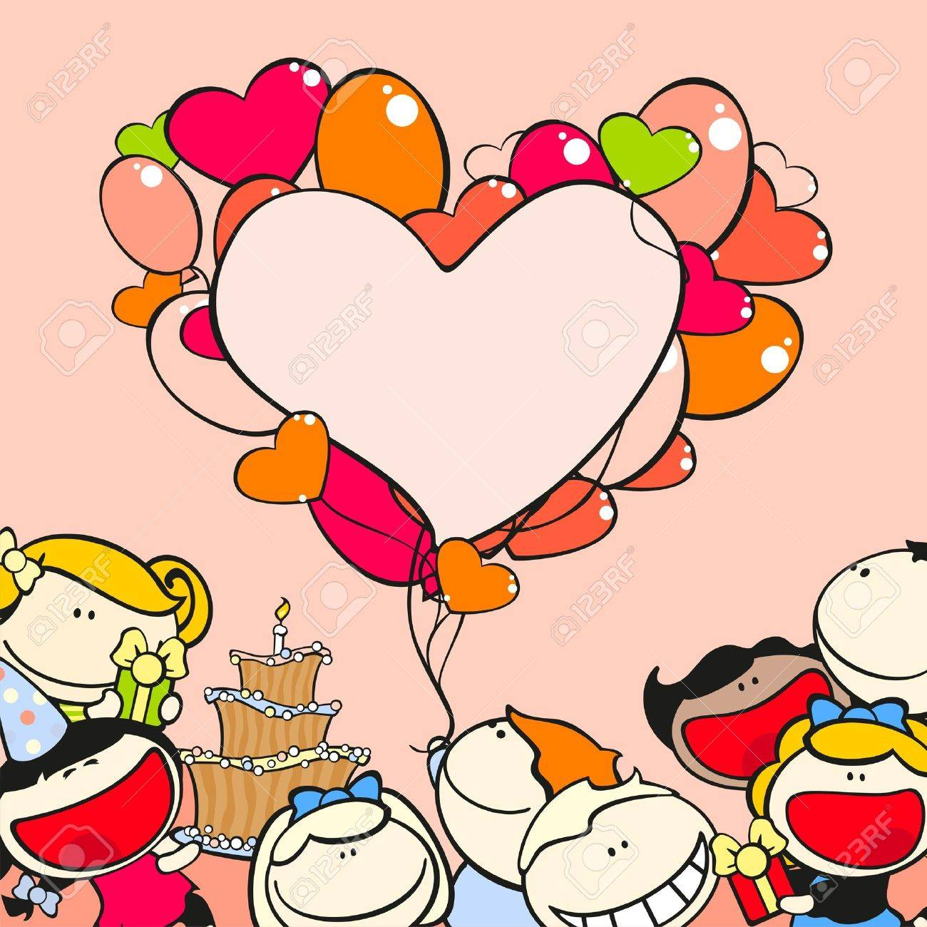 Birthday Frame With Kids And Balloons Royalty Free Cliparts Vectors