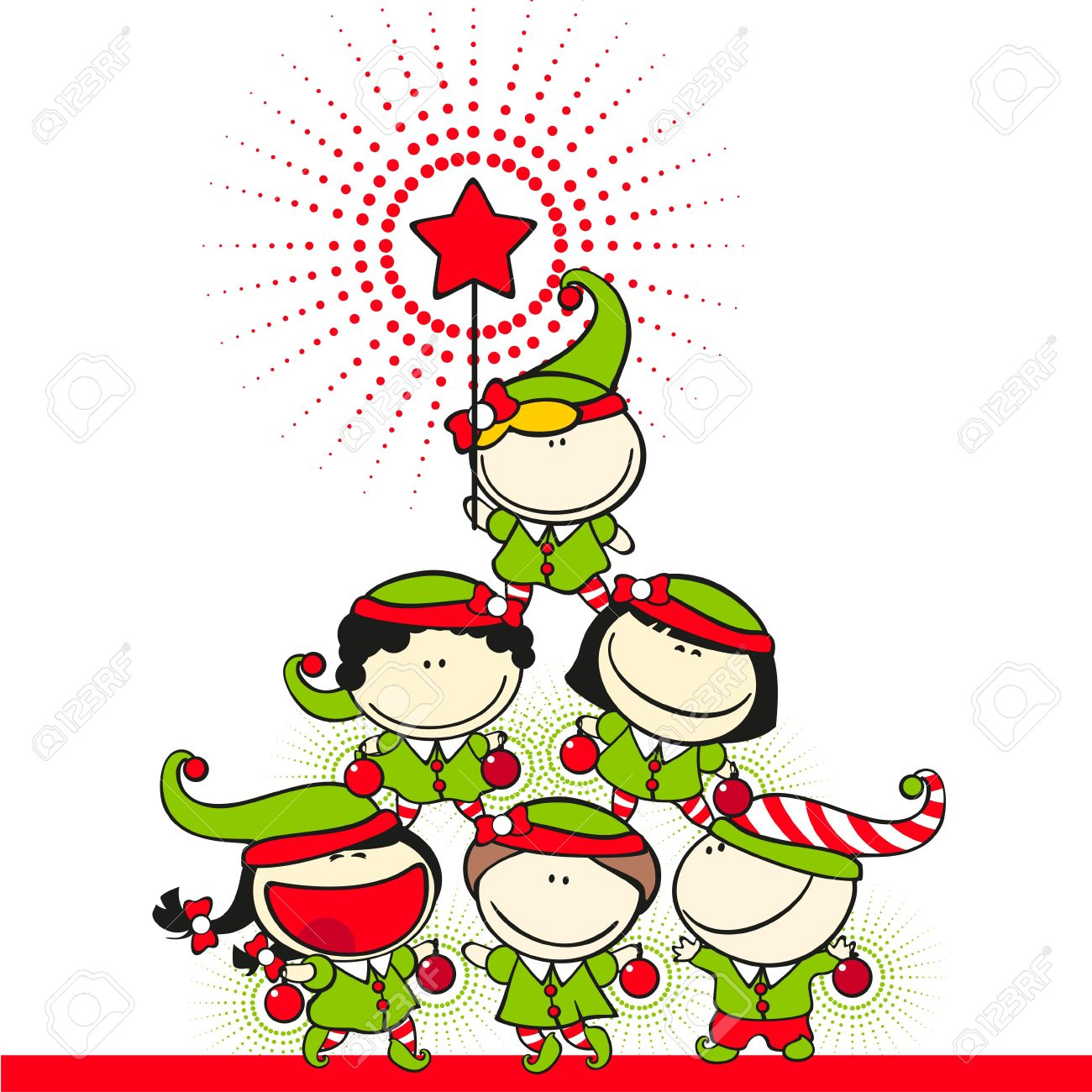 Cute kids in costumes of elves created a christmas tree pyramid Stock Vector - 11354801