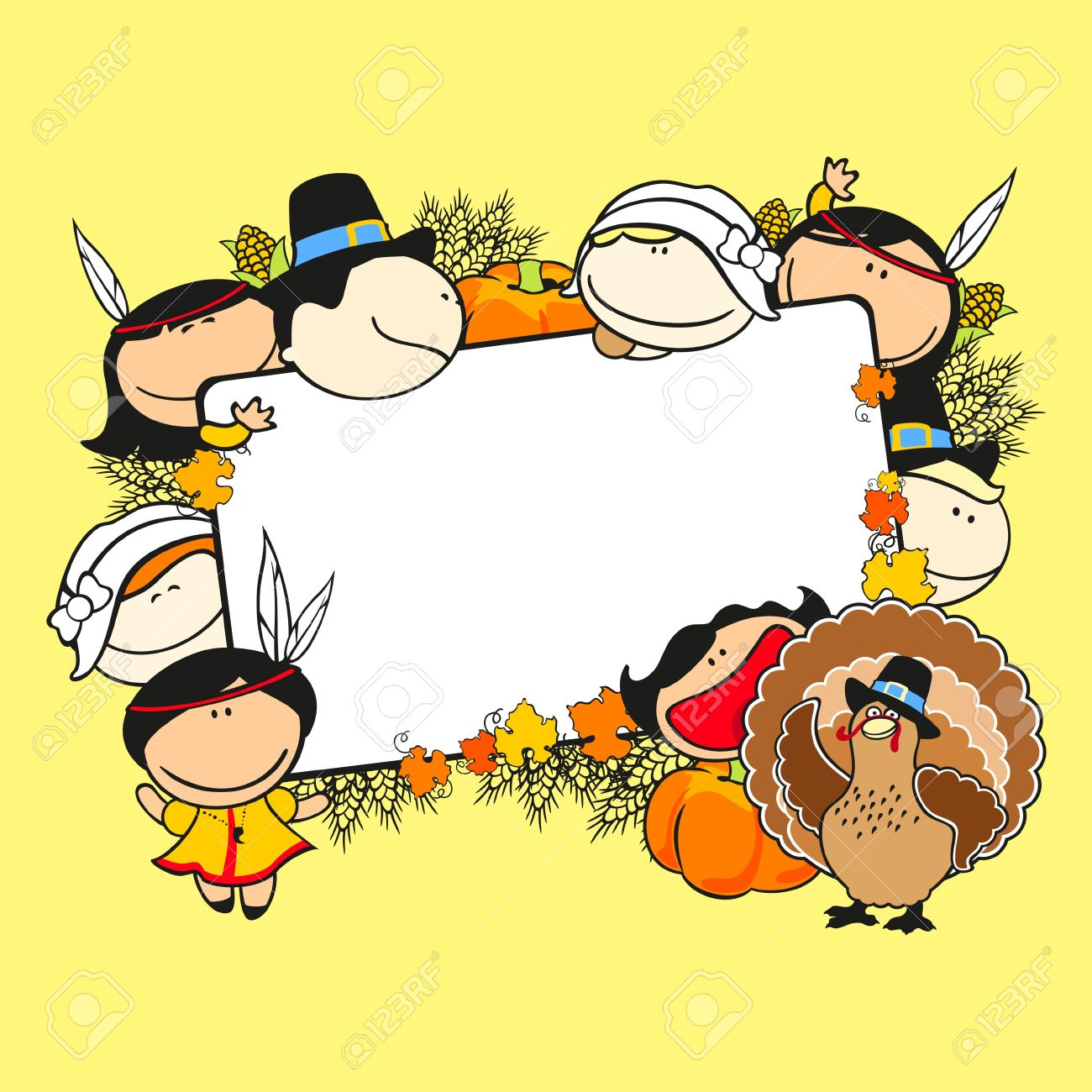 Thanksgiving Day Frame With Kids Royalty Free Cliparts, Vectors, And ...