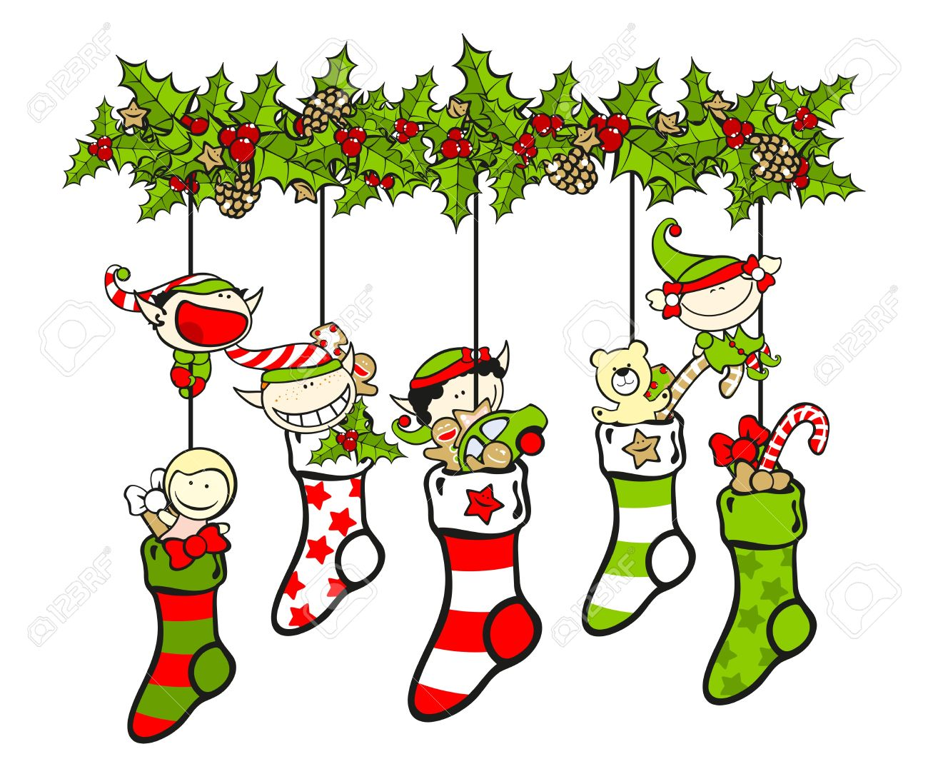 christmas stockings filled with presents and elves royalty free