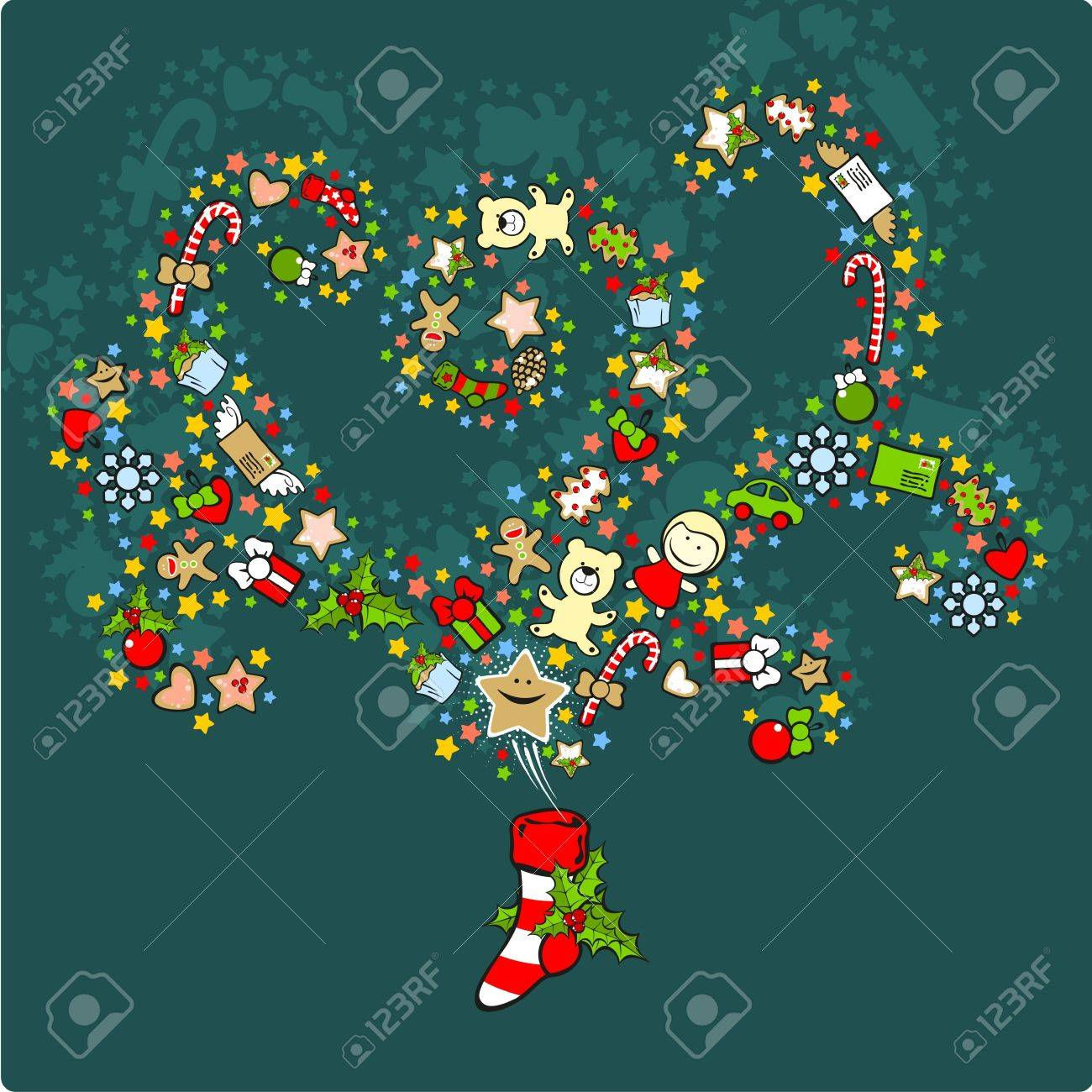Magic Christmas stocking filled with presents Stock Vector - 11595701