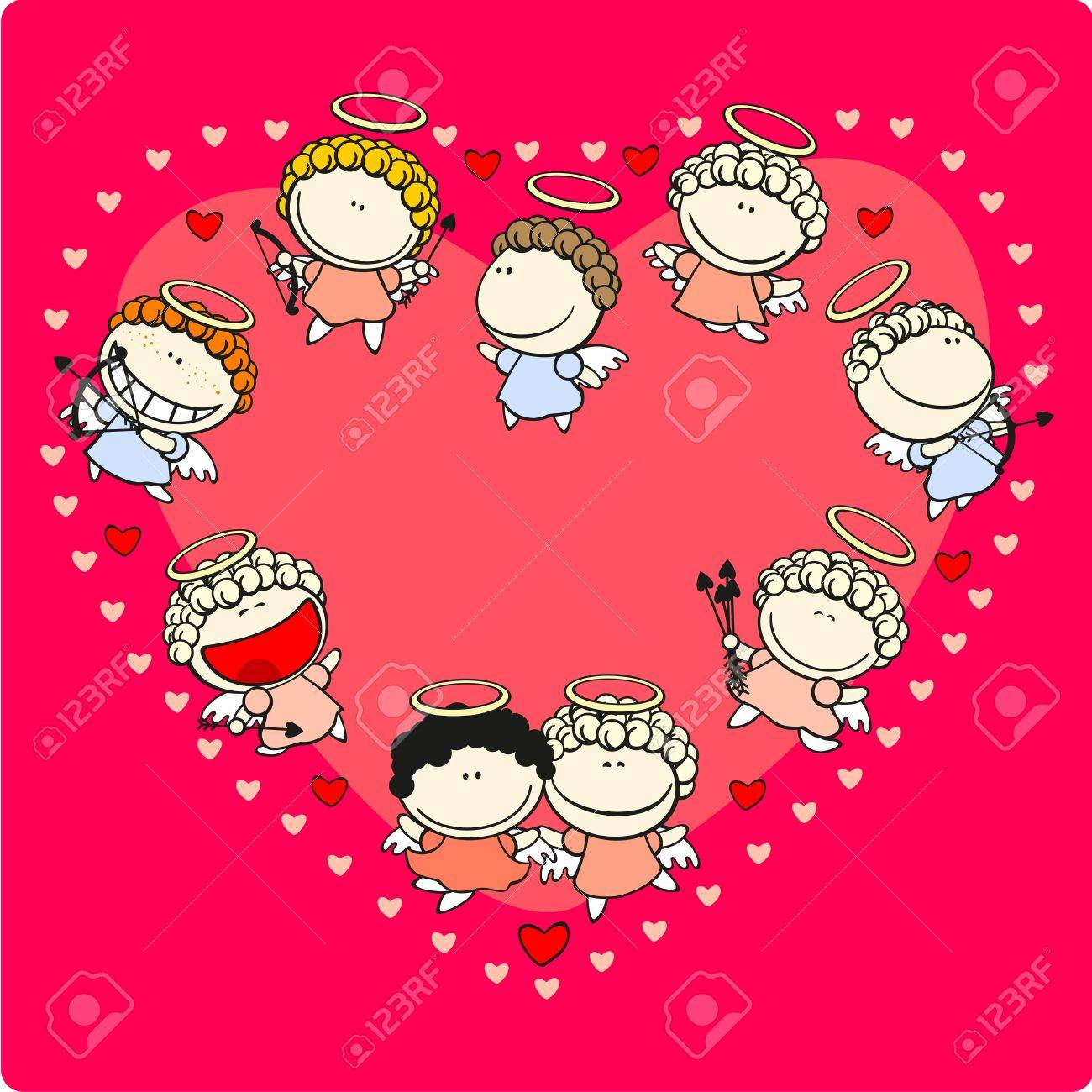 Valentine Day card with cupids Stock Vector - 11980933