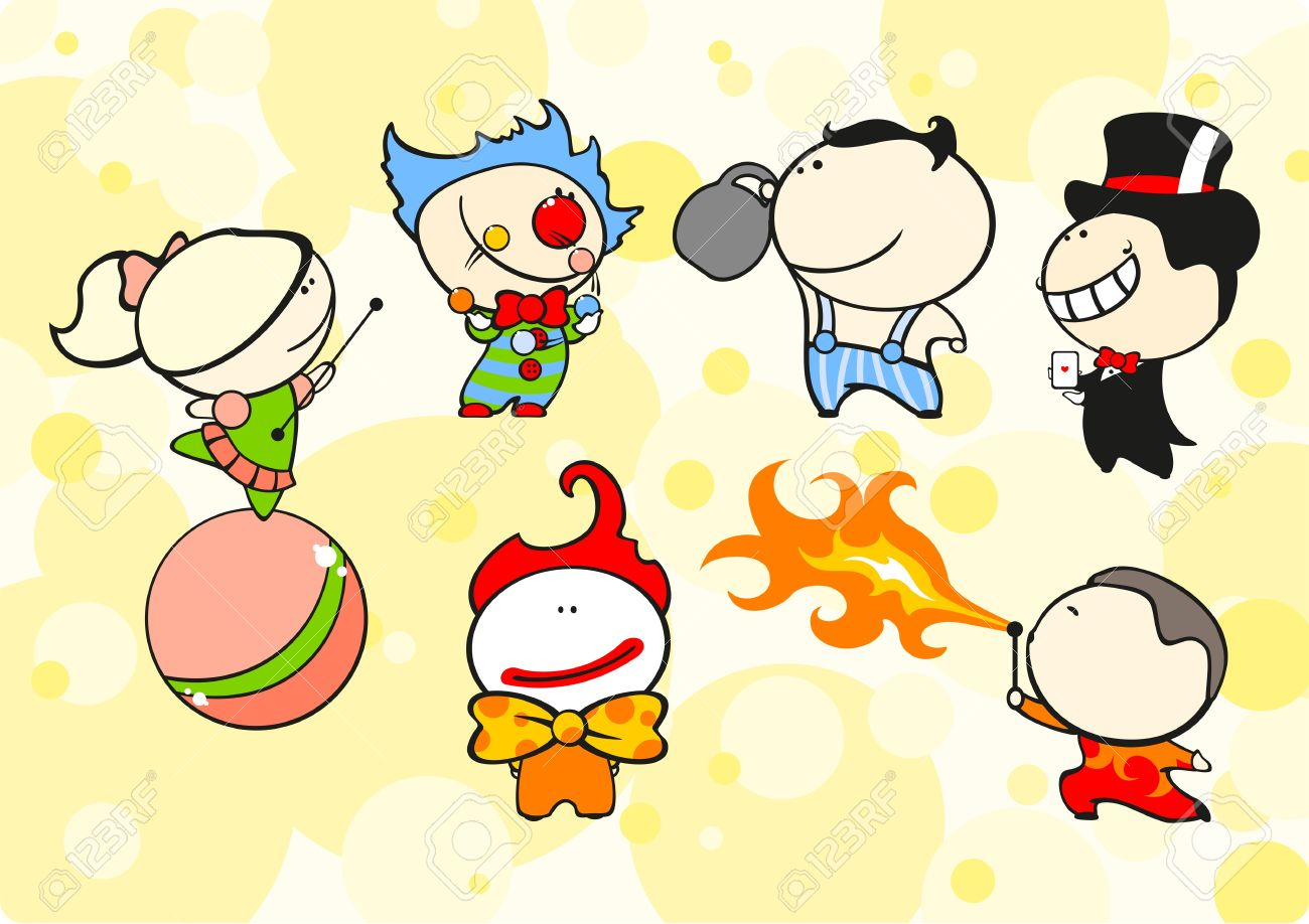 set of images of funny kids 64 circus theme royalty free