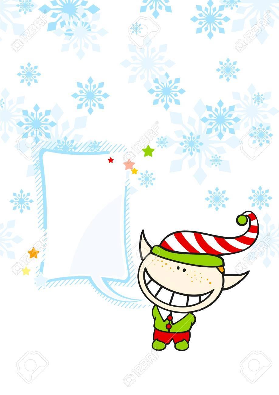 Christmas card with an elf boy and a speech bubble Stock Vector - 16559556