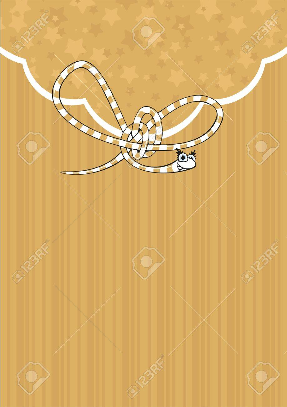 Background with a cute gold snake Stock Vector - 16715756