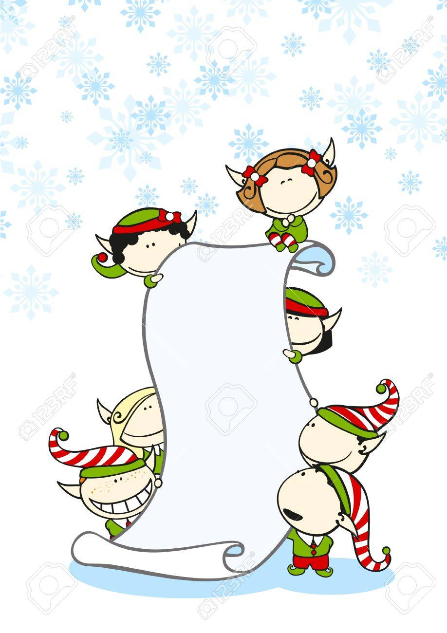 Elves with a scroll Stock Vector - 17208213