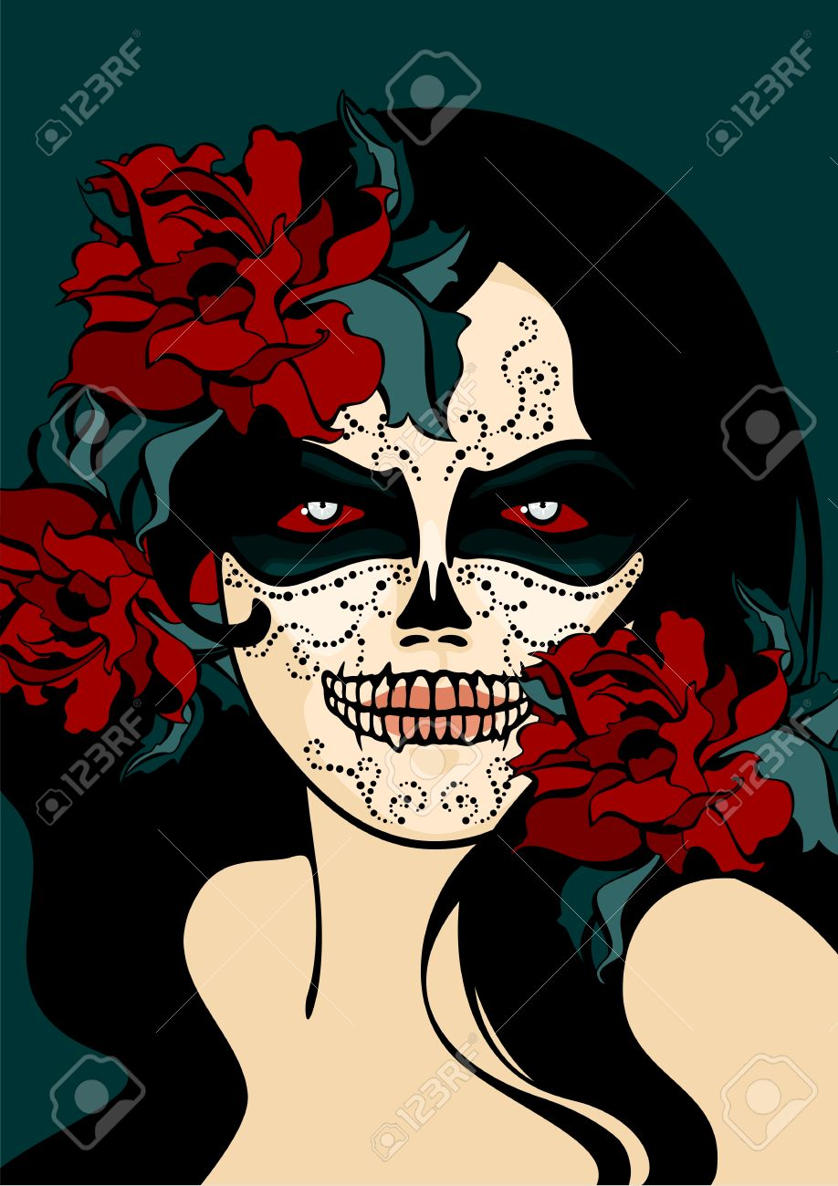 356cf537449 Woman with sugar skull face paint