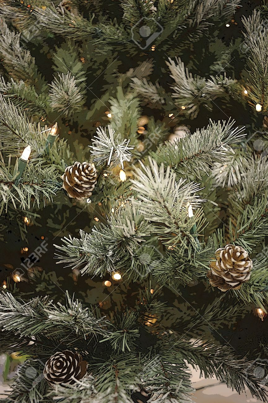 Close-up Of Artificial Pine Tree With Pine Cones And String Of ...