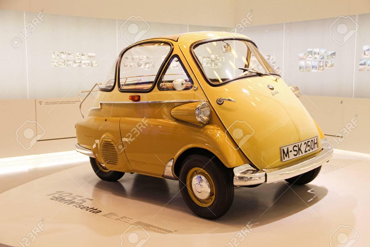 Munich, Germany - April 12, 2012: Display Of Yellow BMW Isetta ...