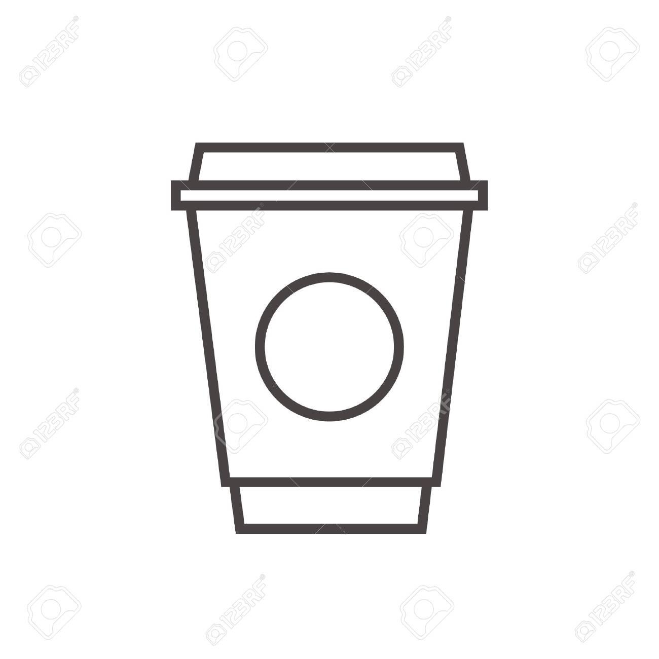 hot coffee stroke outline icon vector - 126511454