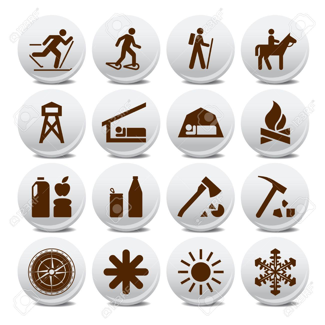 Set of vector silhouette icons on the active leisure Stock Vector - 10048561