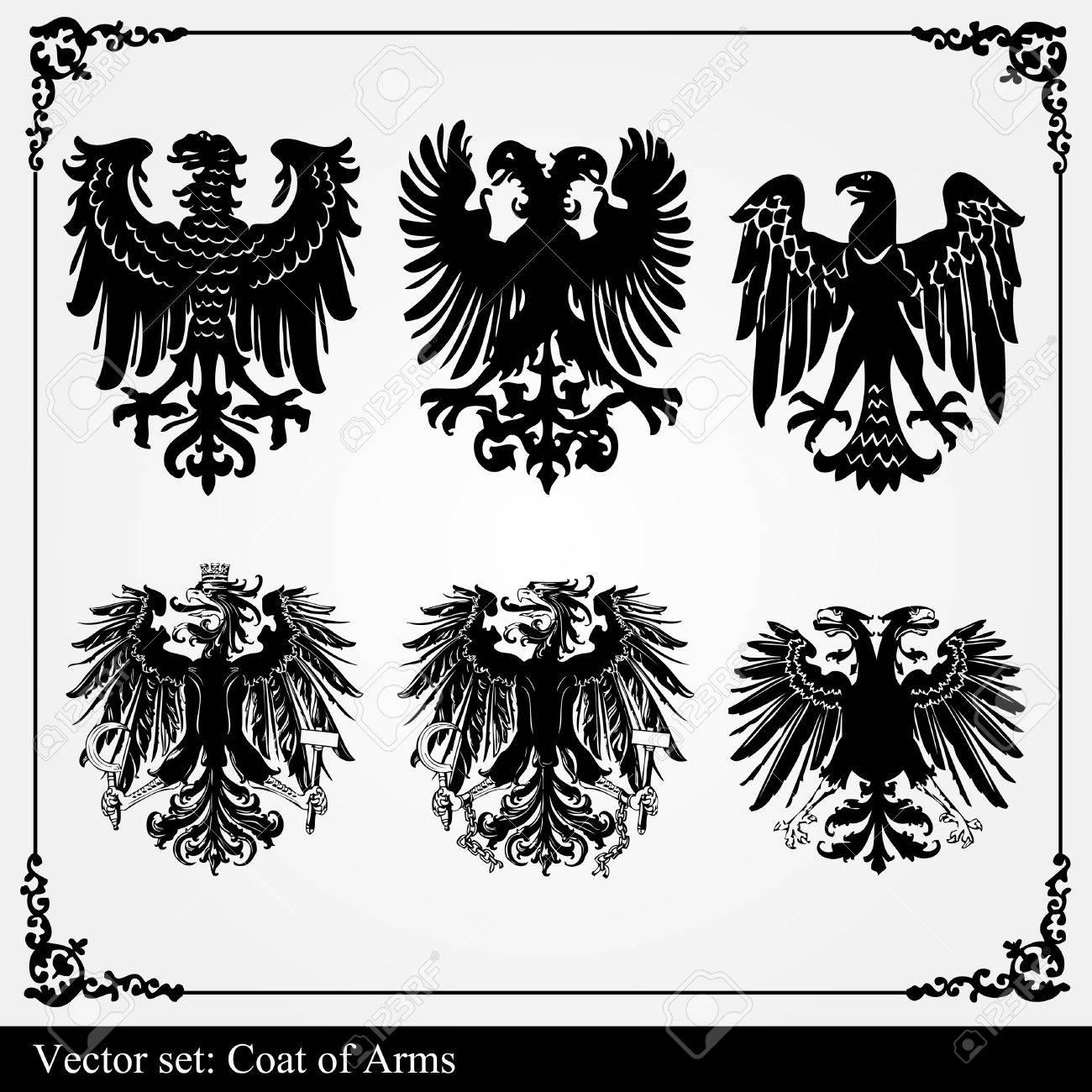 Heraldic eagles set vector background Stock Vector - 10048573