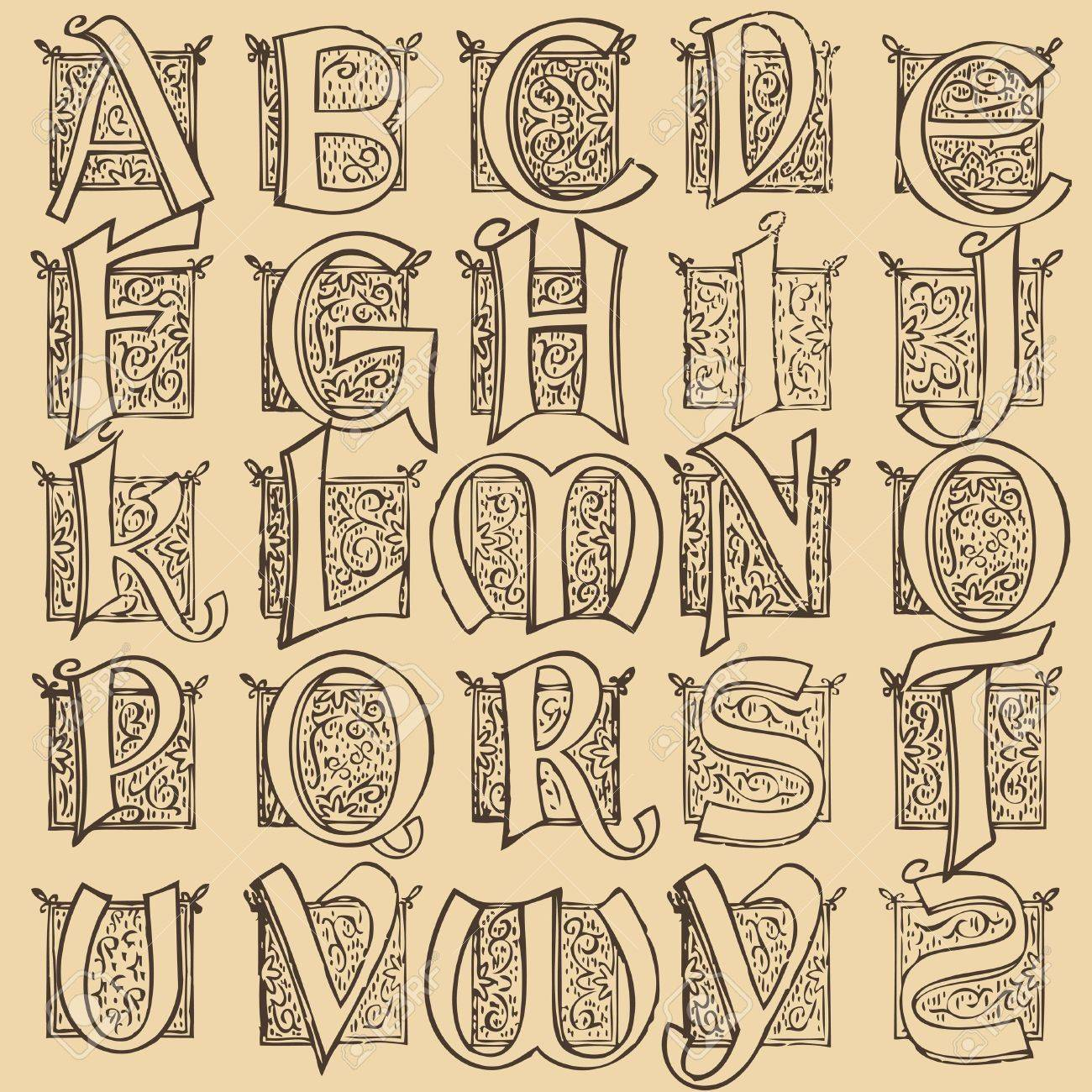 Vintage alphabet set Stock Vector - 10269970