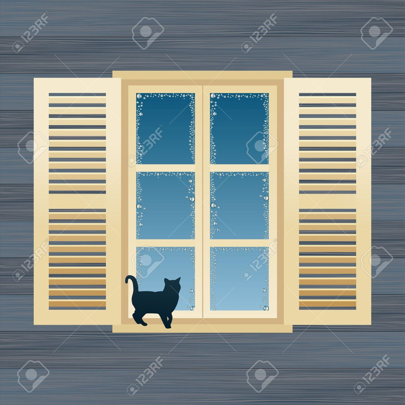 House window frame - Window Frame Animated Country House Window Vector Illustration