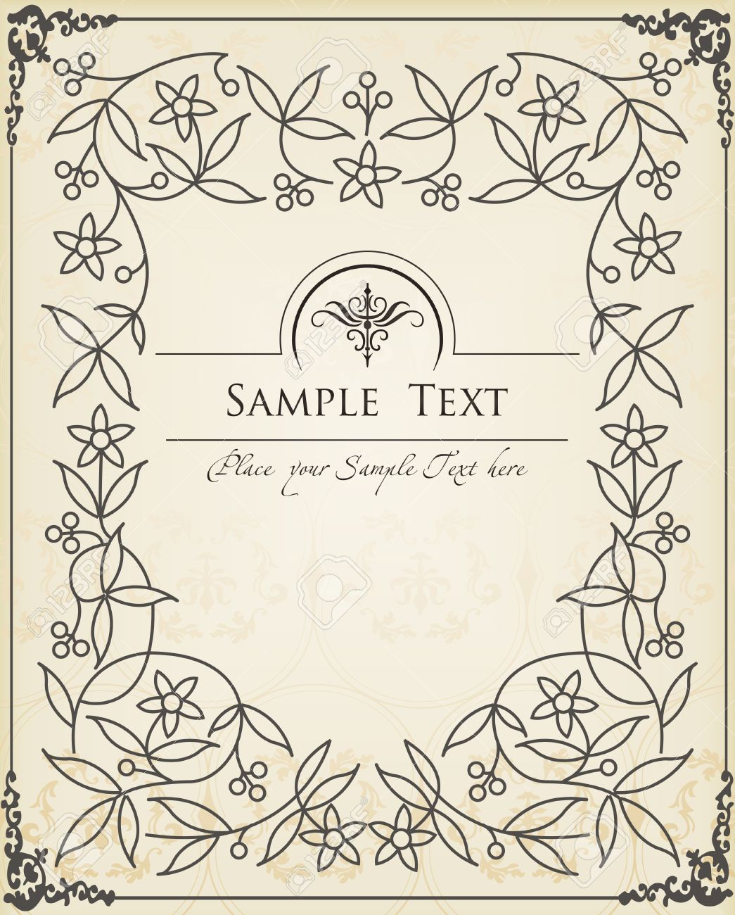 Vintage Book Cover Frame ~ Vector vintage background for book cover or card royalty free