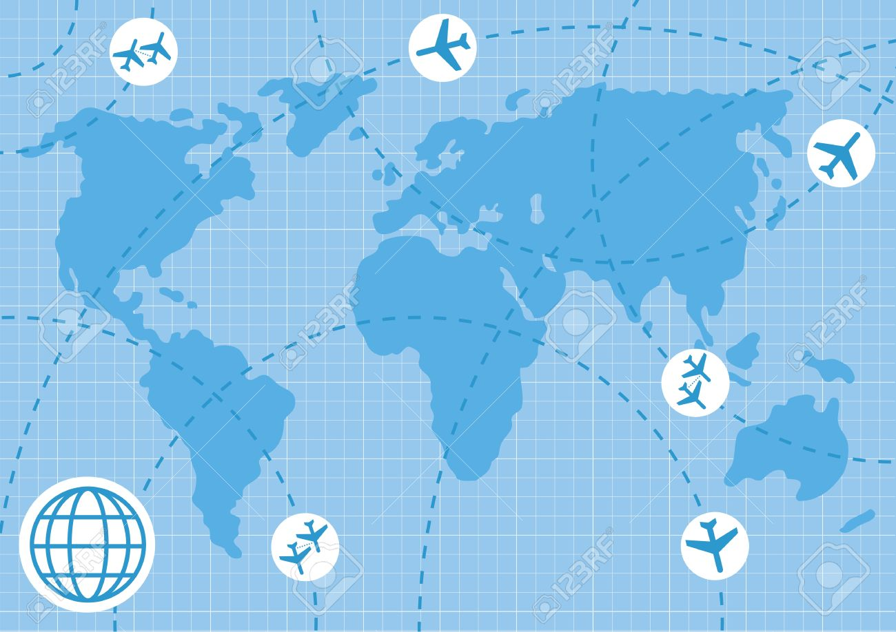 Animated plane map background business illustration Stock Vector - 10350722