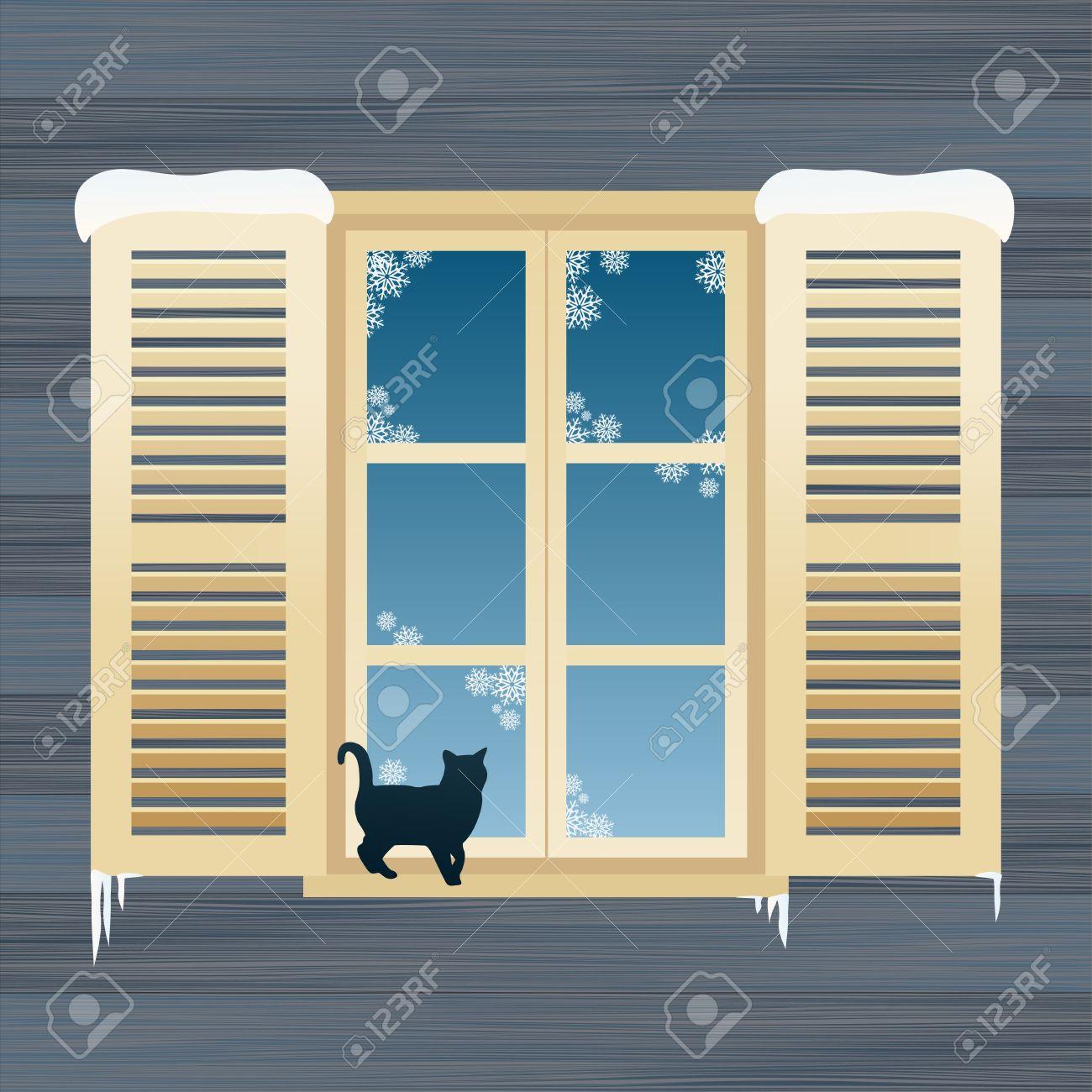 Offenes fenster im winter  Cat Im Winter Fenster Hintergrund Illustration Lizenzfrei Nutzbare ...