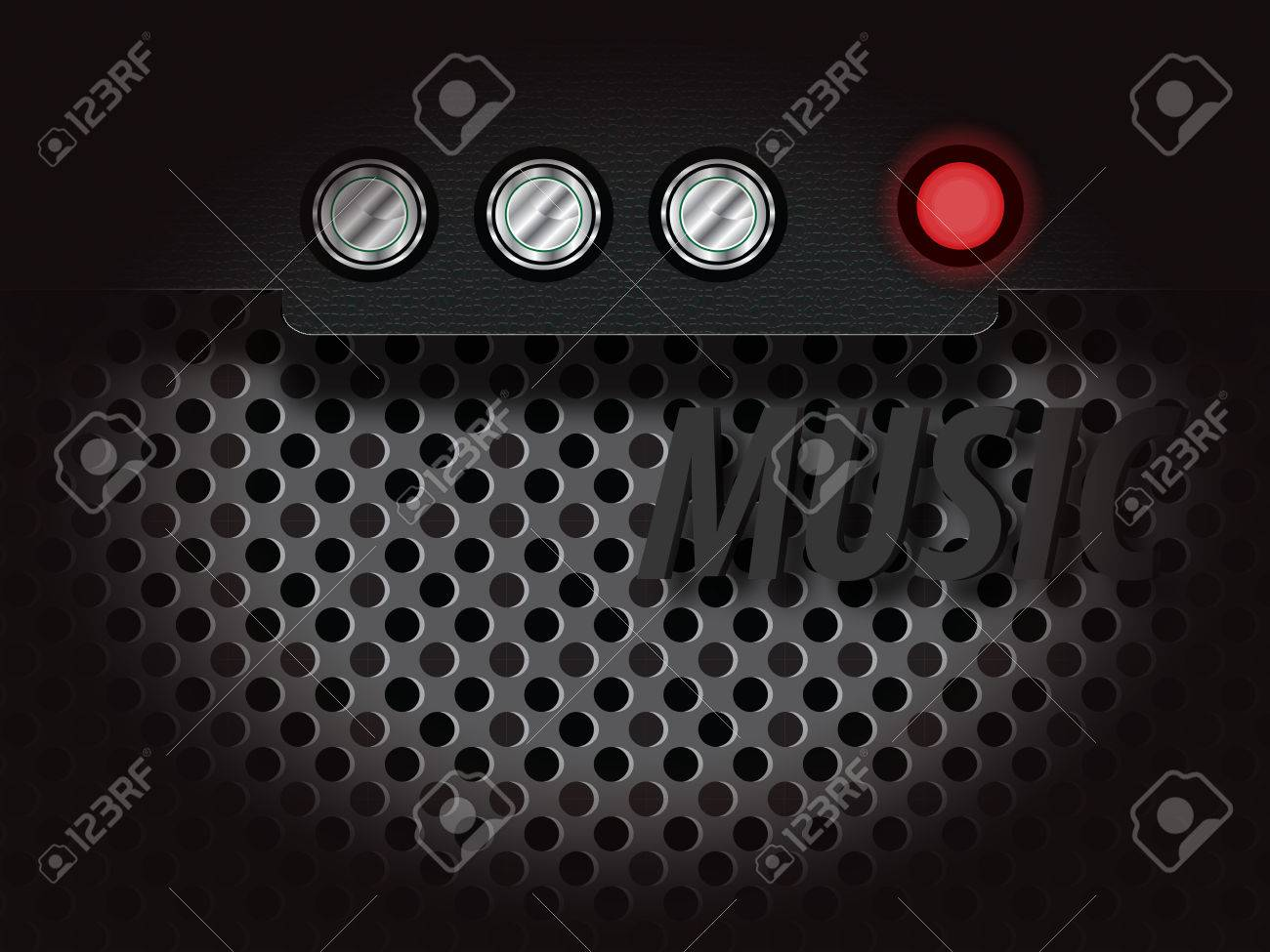 Amplifier With Audio Controls And The Red Indicator Light Gray Mesh For Music Backgrounds Stock