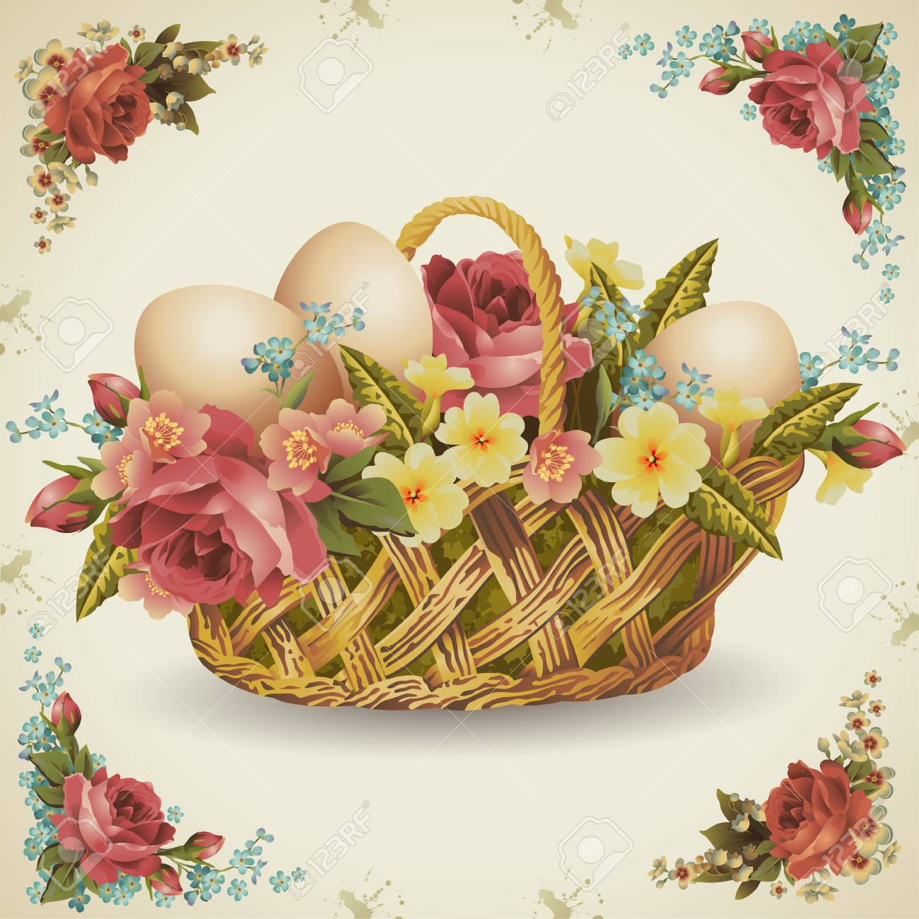 Easter basket with flowers in which rozmizheni Easter eggs Easter eggs in milk brown background Stock Vector - 27362164