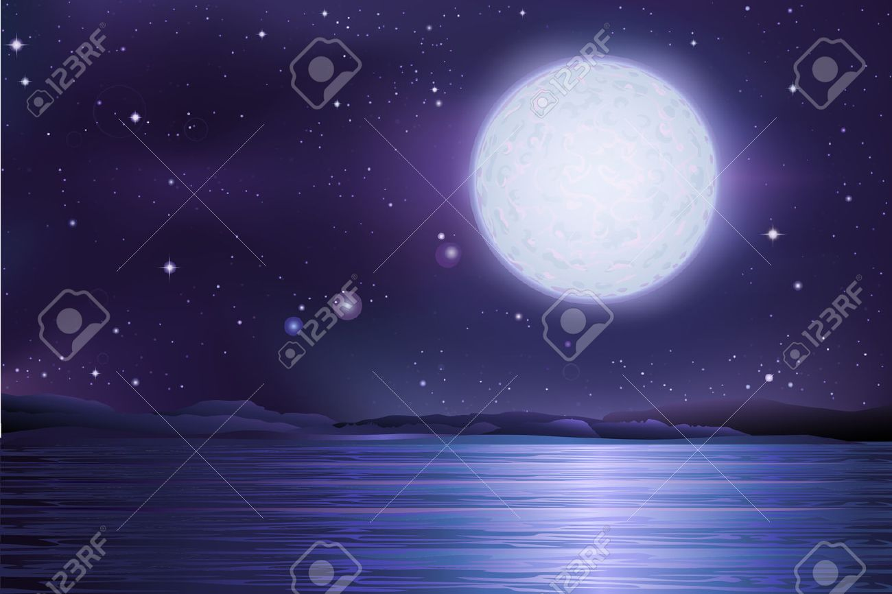 the full moon and starry sky vector ancient ancient lake lake under a full moon and the stars - 29115351