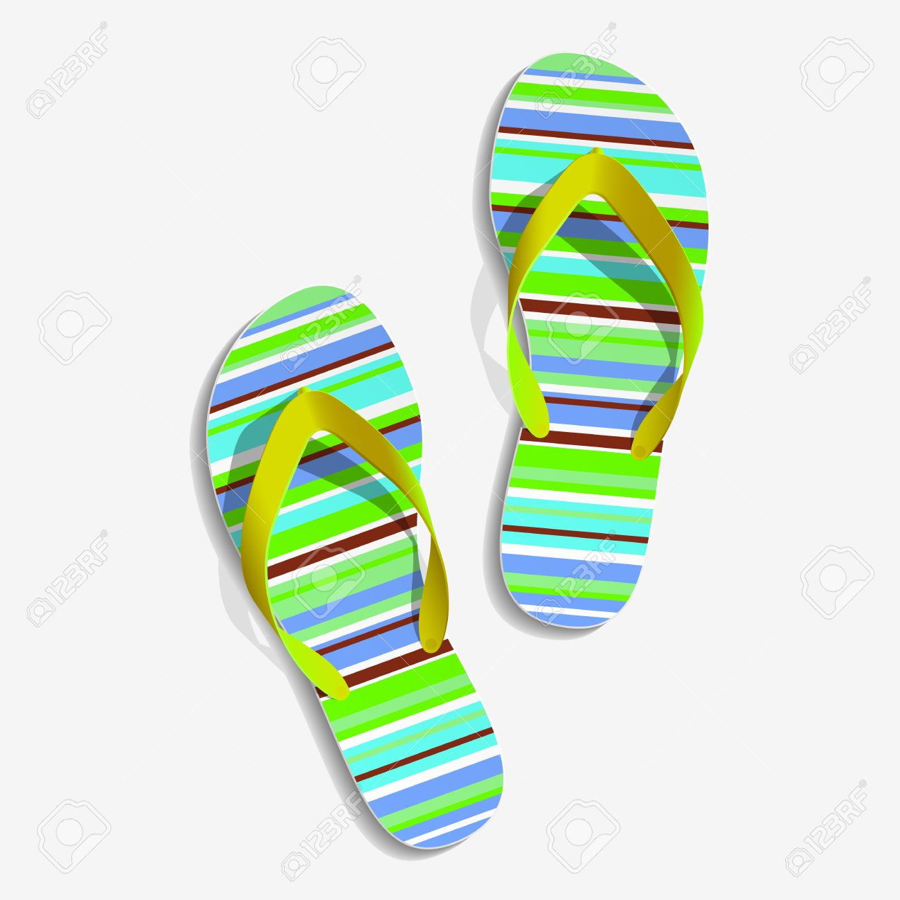 5cf581ca5 Striped beach slippers Colorful beach slippers Summer slippers Stock Vector  - 30553965