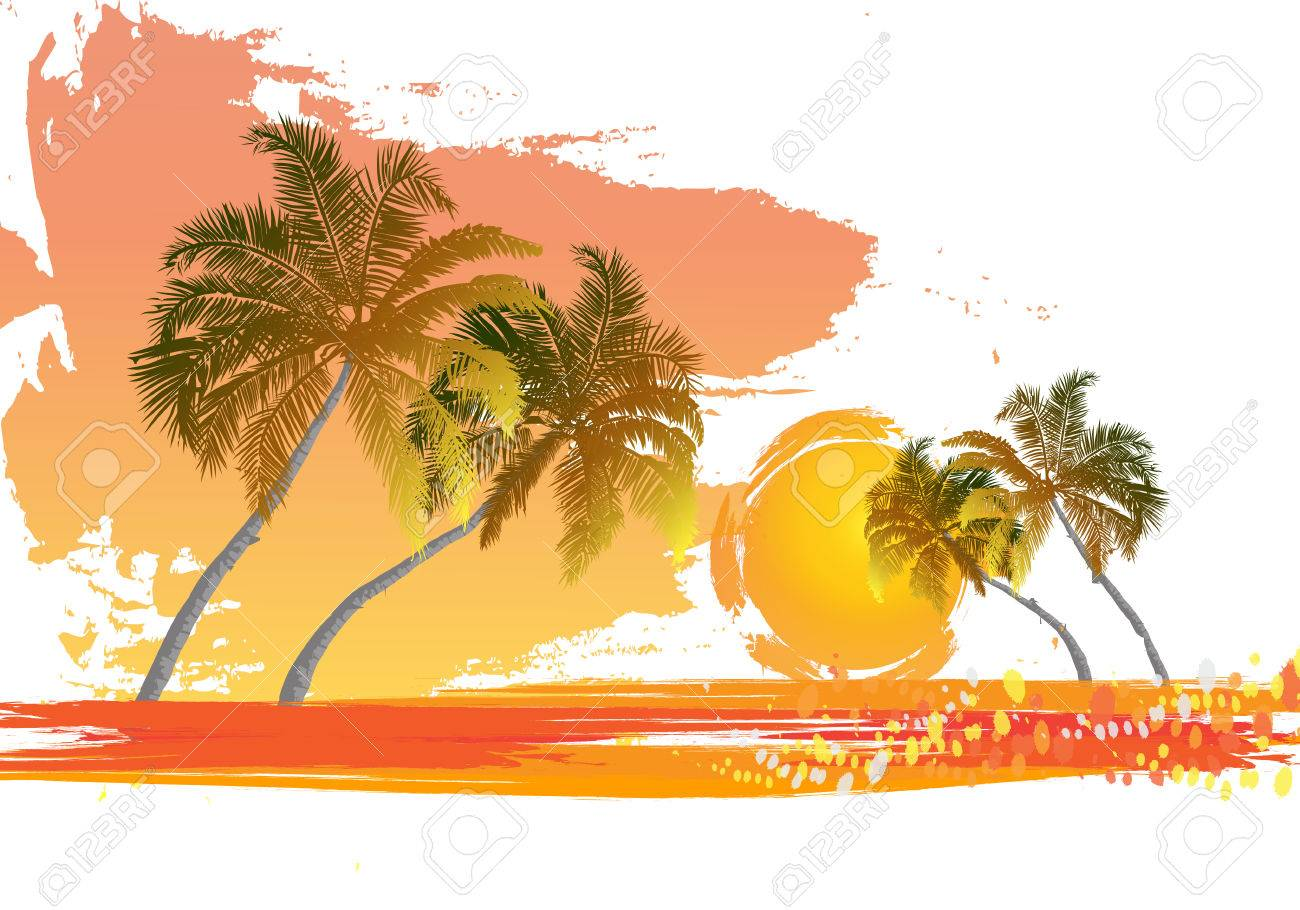 Palm trees at sunset Rest in tropics Maldives Canary Islands Evening at leisure - 30682879