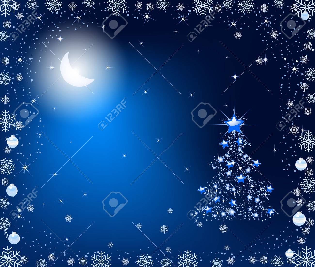 Abstract Christmas tree. Christmas tree for the new year. Christmas tree in the moonlight. - 32776395