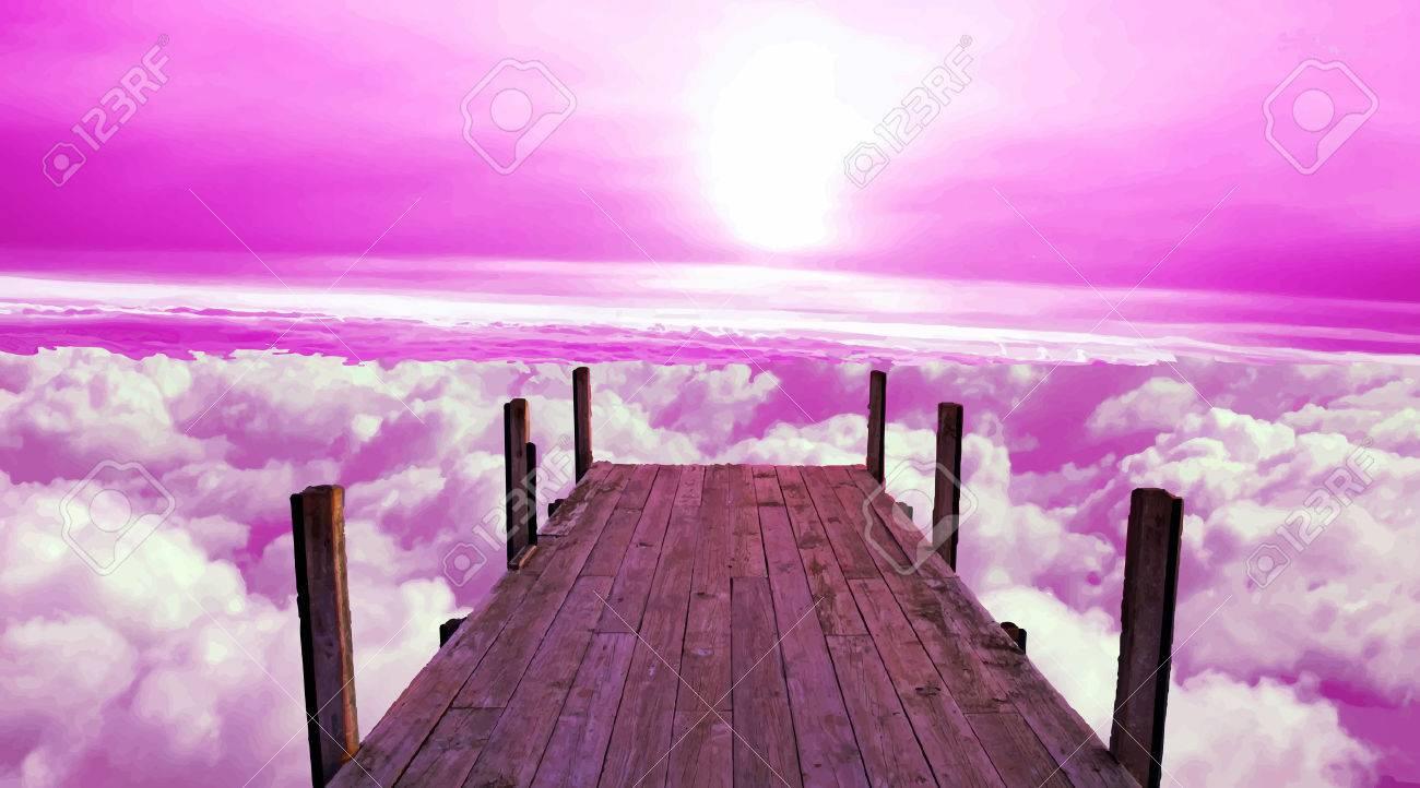 Above the sky. Mooring. Berth of heaven. Rozovoe sky. - 33447375