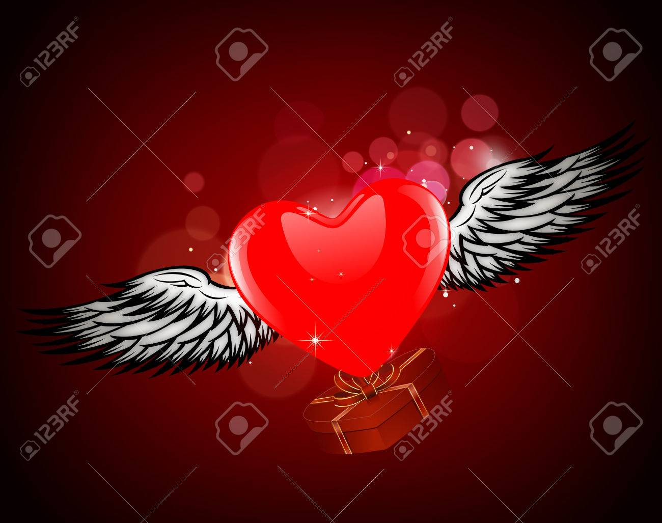 Heart With Wings Abstract Composition Valentines Day Abstract