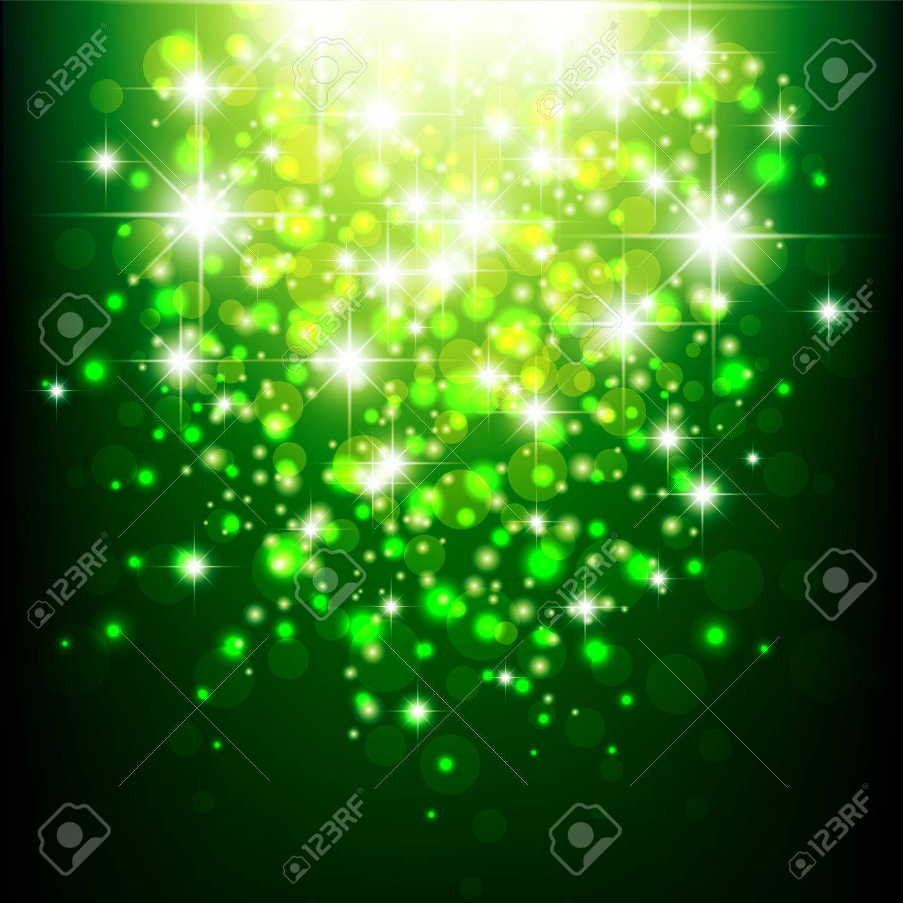 Green Background With Bokeh. Green Blurred Background. Green Lights. Banco  De Imagens