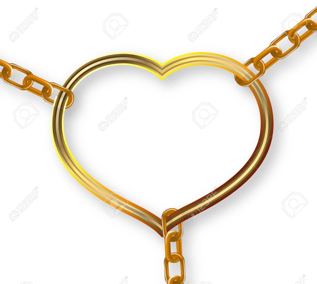 Heart Torn Trim Chains Vector Art Illustration Royalty Free - Clip-art-of-heart