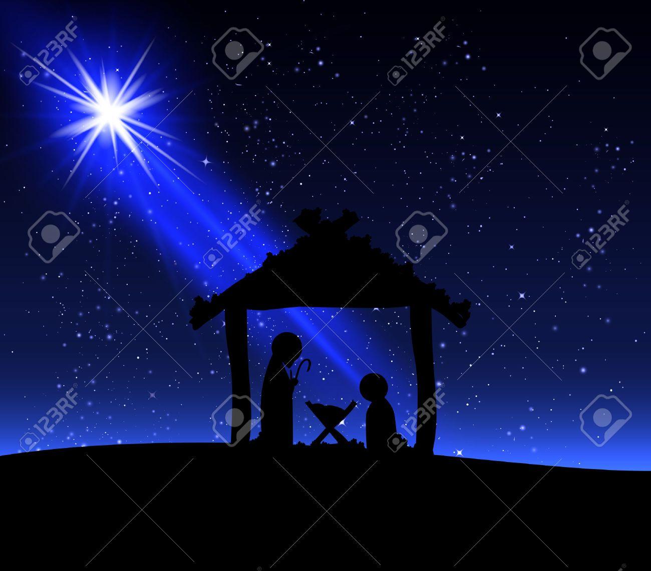 Jesus on the night of Christmas, vector art illustration. - 49354135