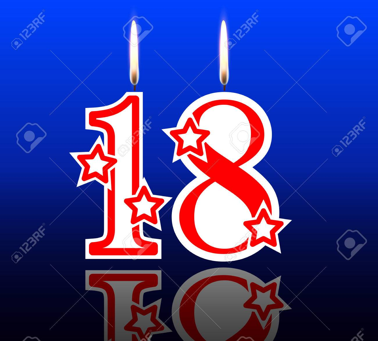 18 Birthday Candles Vector Illustration Holiday Art Stock