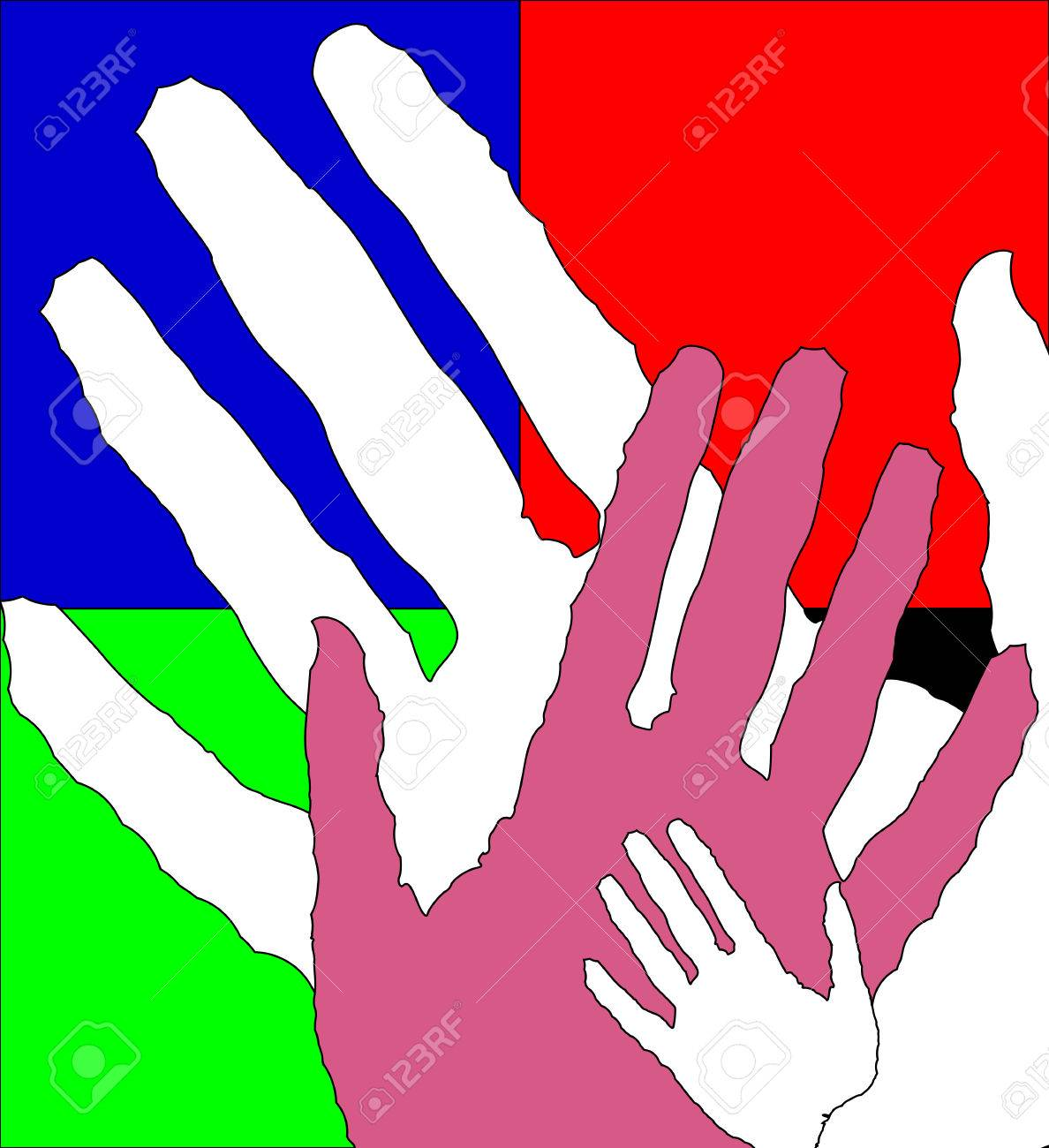 Children and adults hands, vector art illustration. - 51779928