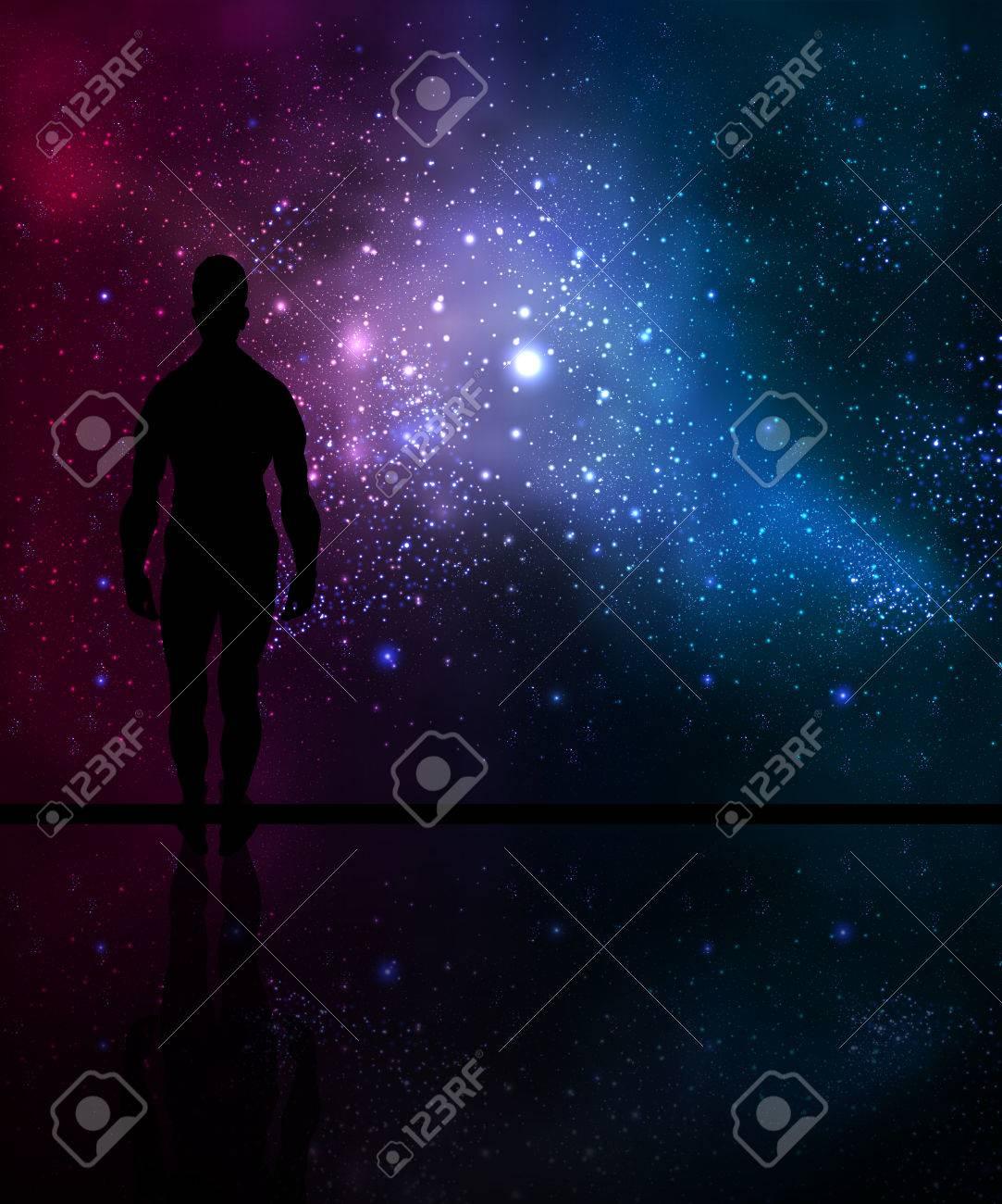 Man looks at the cosmos, vector art illustration. - 59379185