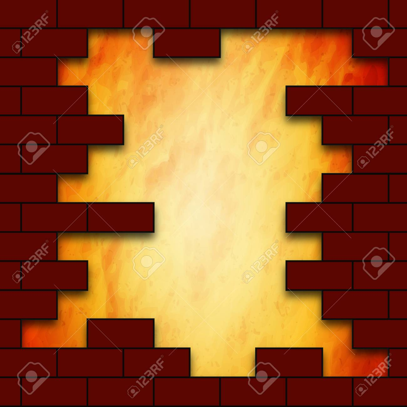 The Hole In The Brick Wall, Vector Art Illustration. Royalty Free ...