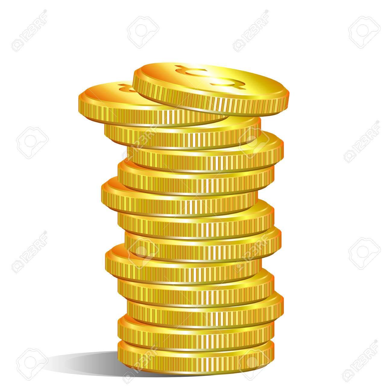 a pile of gold dollar coins vector art illustration money royalty