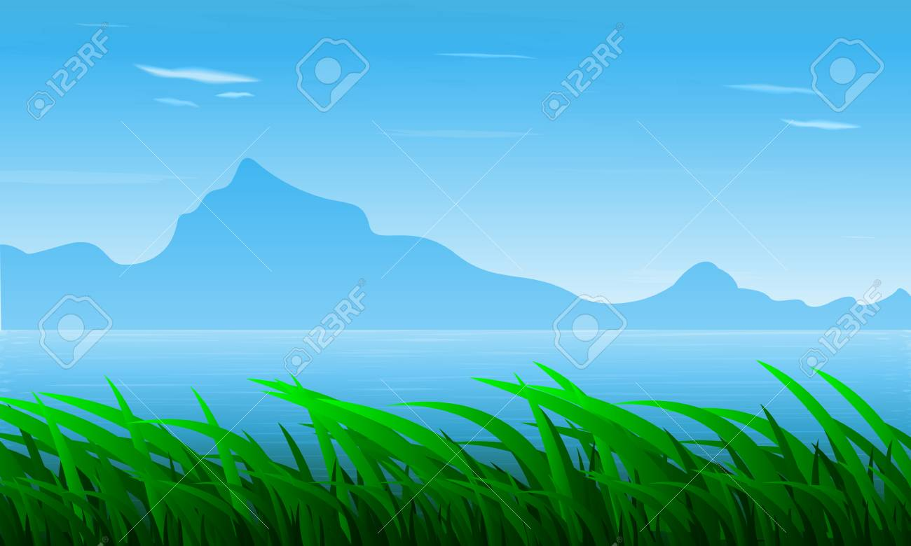 landscape of grass on the background of the river and mountains royalty free cliparts vectors and stock illustration image 81299330 landscape of grass on the background of the river and mountains
