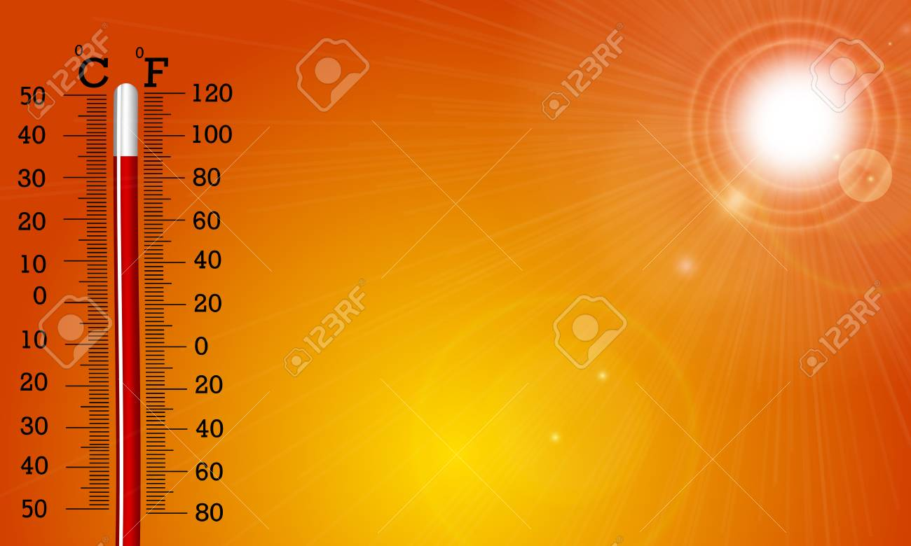 Very hot sun and thermometer, vector art illustration. - 99866902