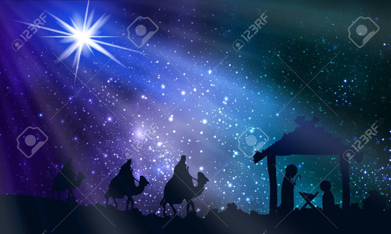 Jesus Mary and Joseph on Christmas Night, vector art illustration. - 113825754