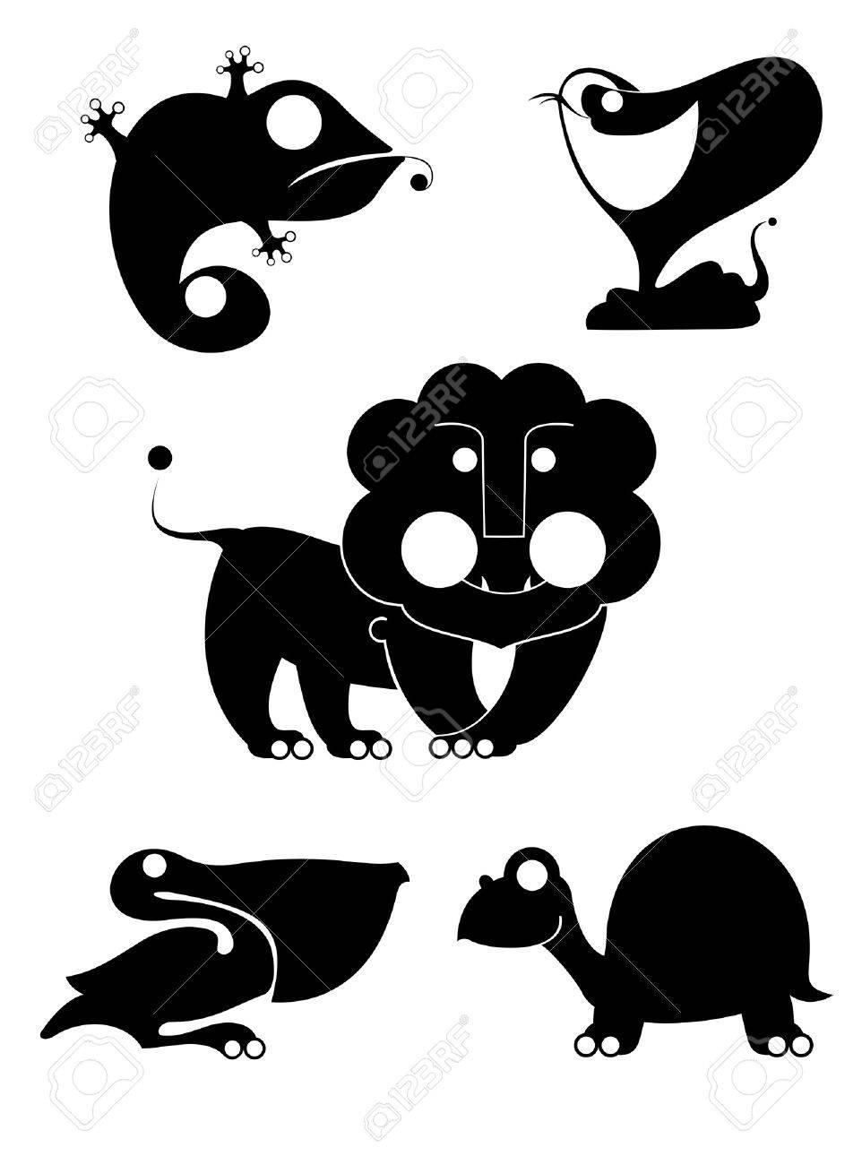 Vector original art animal silhouettes collection for design Stock Vector - 21736039